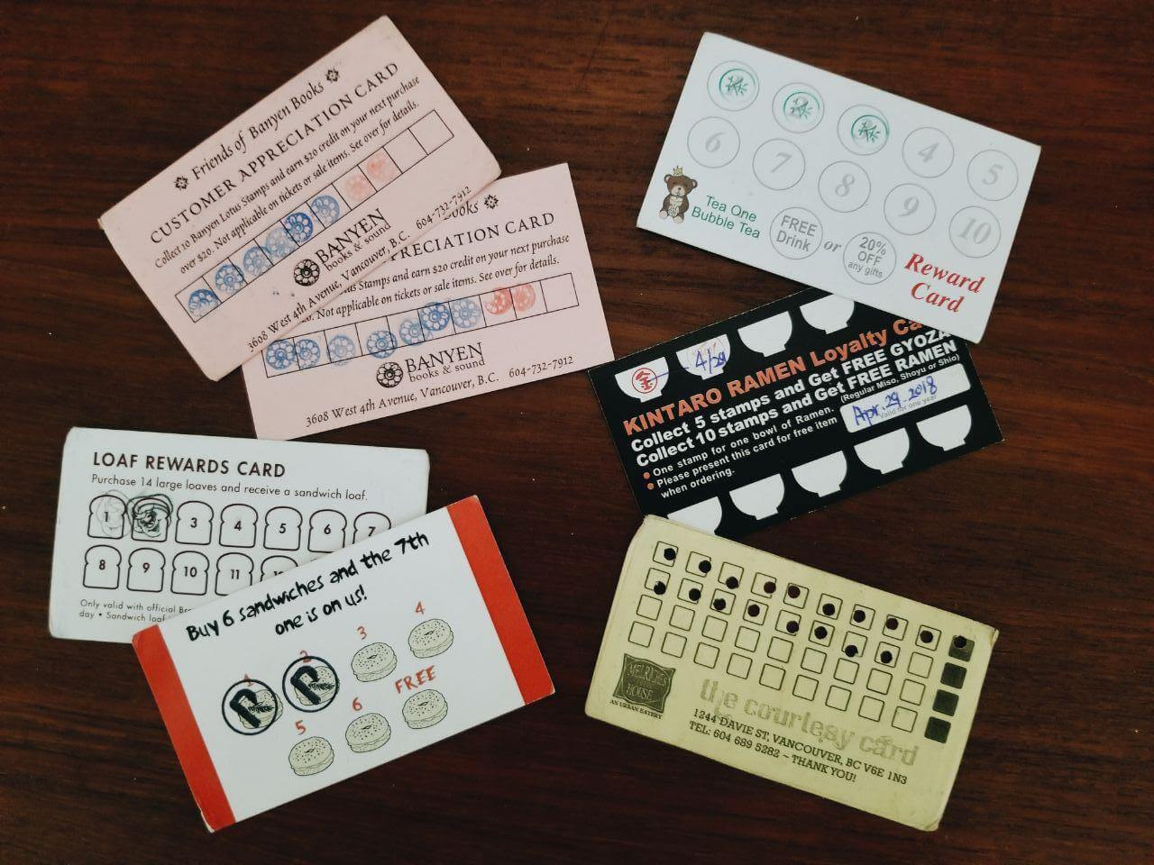 customer loyalty punch cards