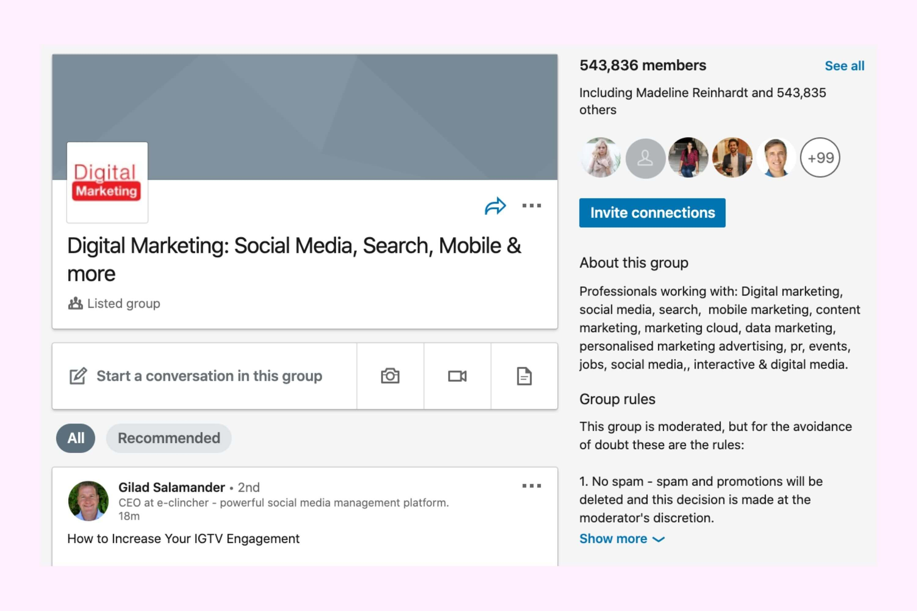 digital marketing linkedin group