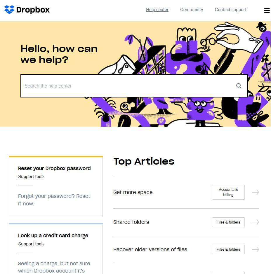 dropbox knowledge base example