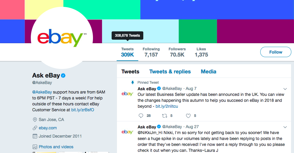 ebay's twitter support gives followers 24/7 access to get questions answered