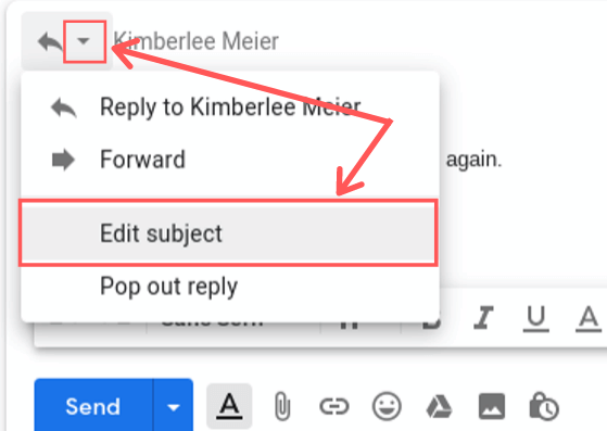 editing subject line in gmail