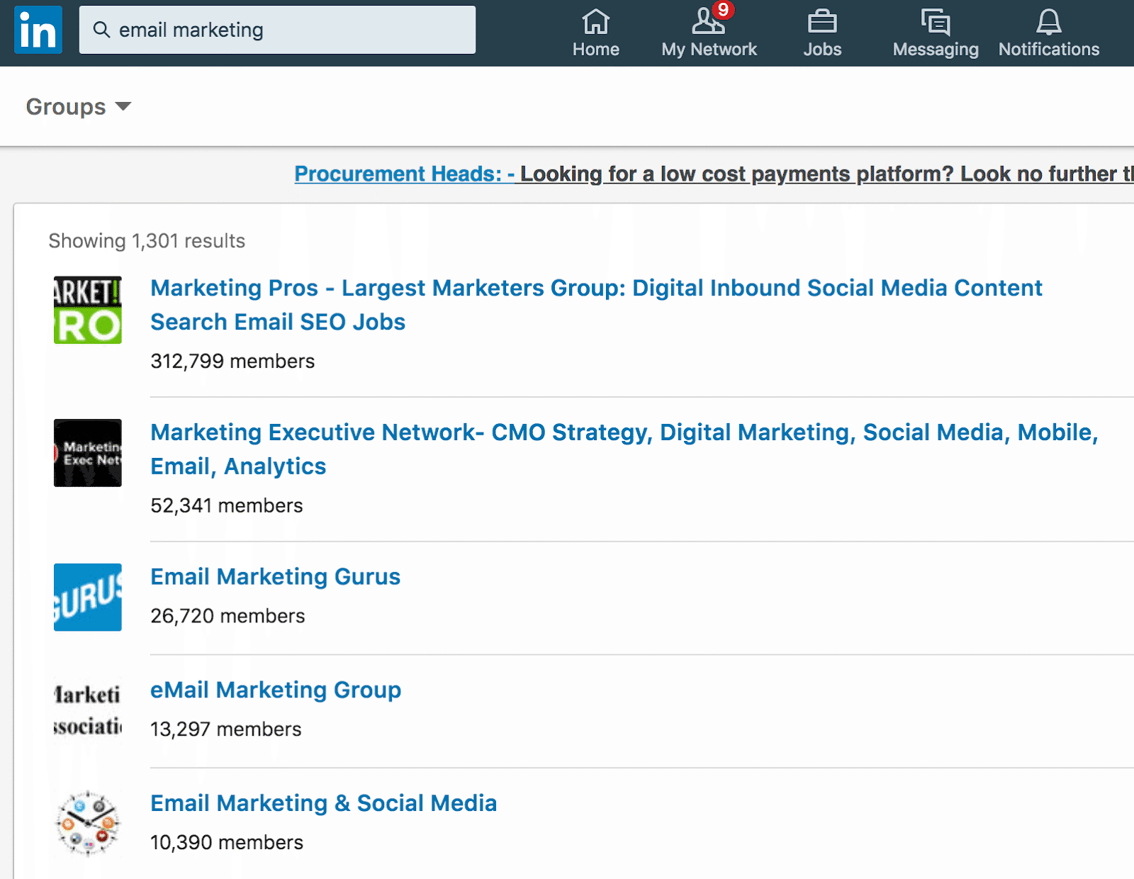 linkedin groups examples
