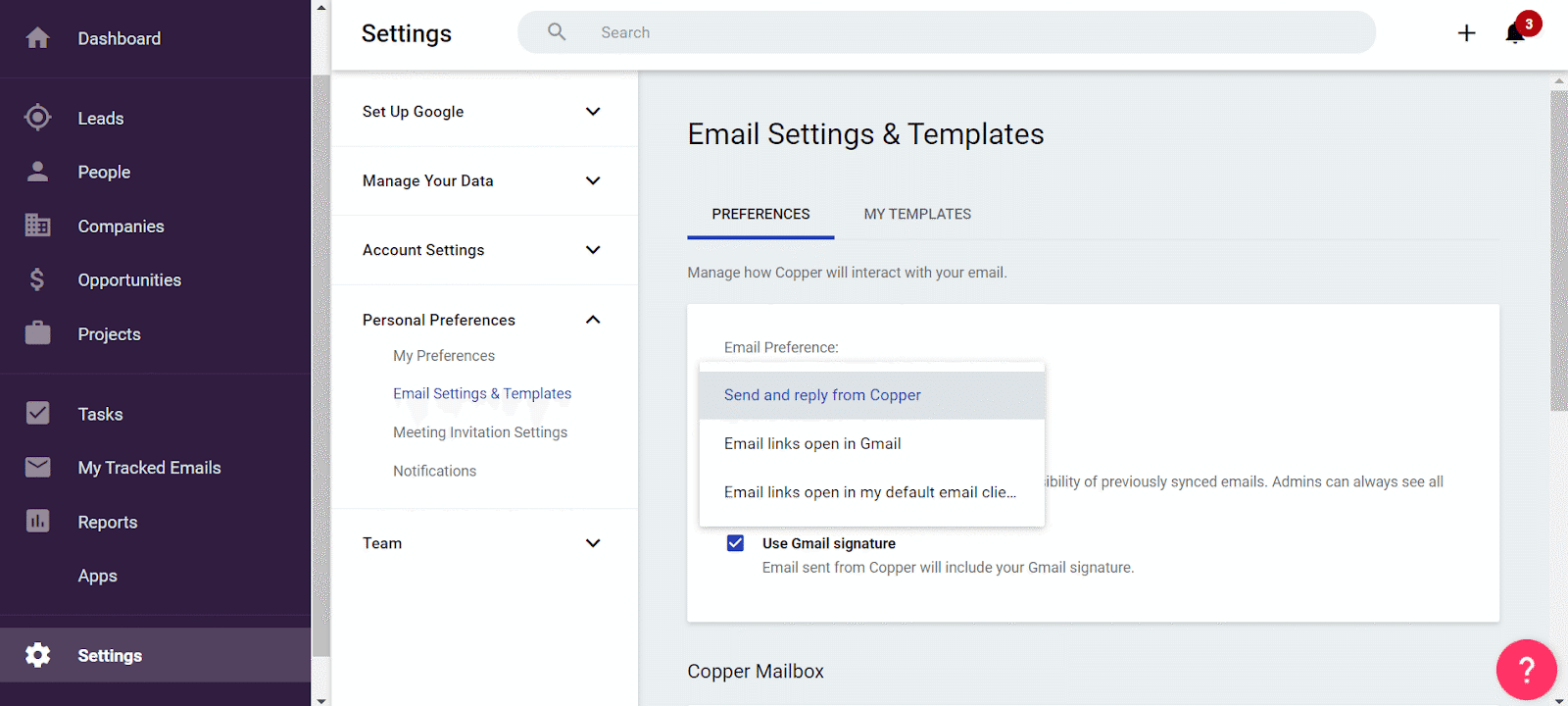 email settings templates in copper crm