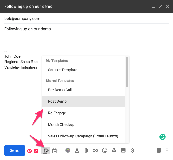 using an email template in gmail