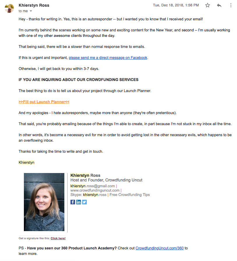 example of sales prospecting email for crowdfunding.