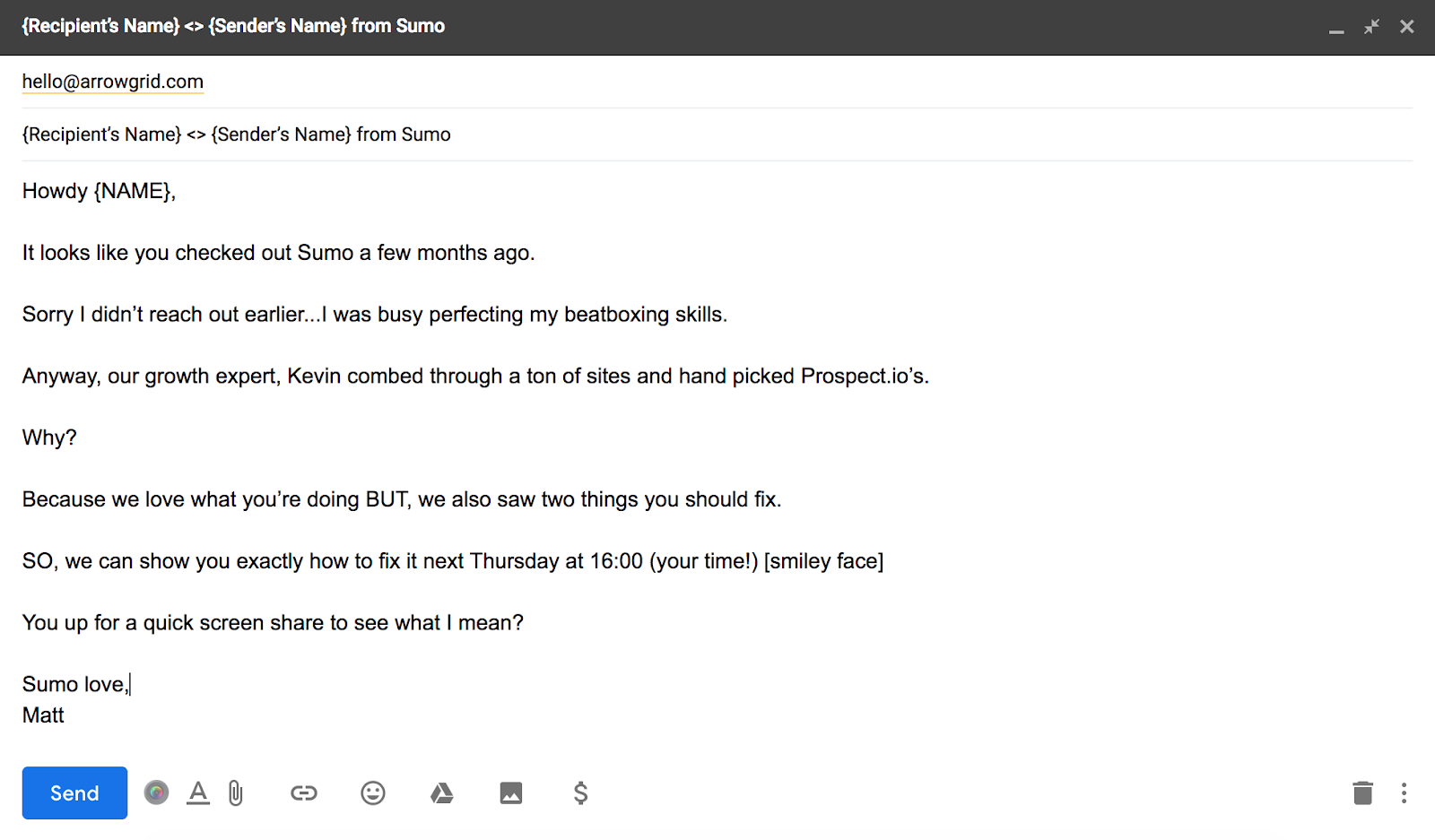 how to adopt a casual and friendly tone in a sales email.