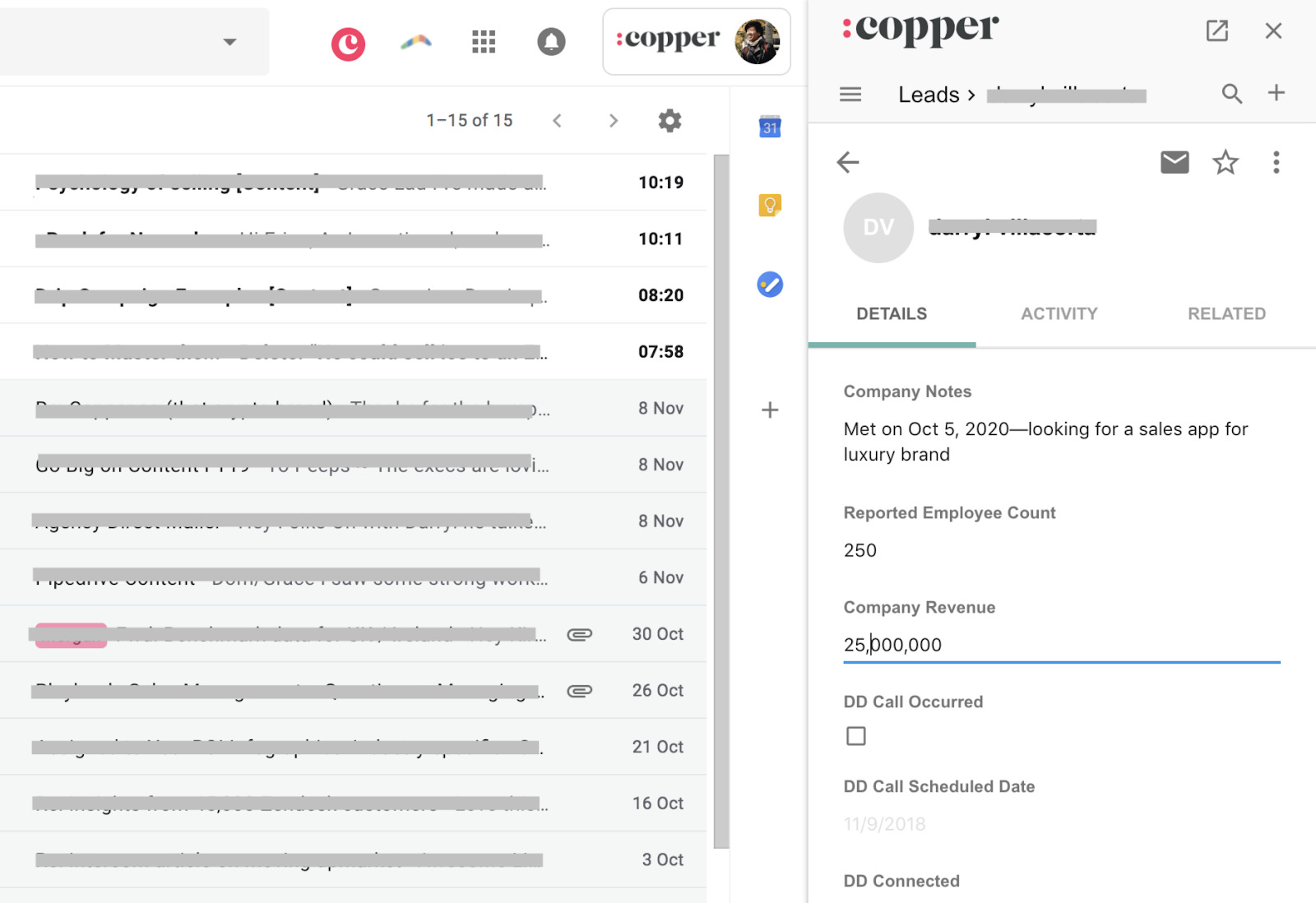copper crm allows you to make notes under each lead's profile
