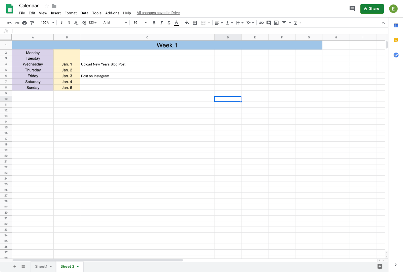 example of a calendar in google sheets