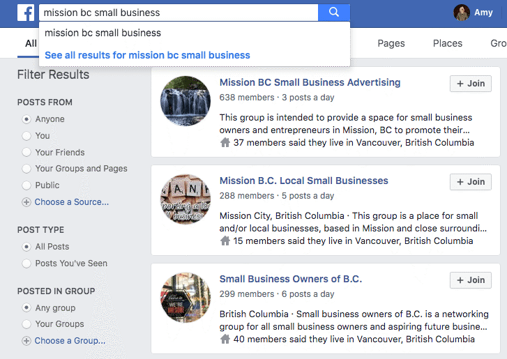 how to find small business groups on facebook