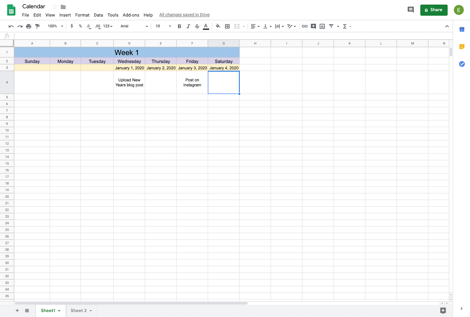 filling in dates in calendar on google sheets