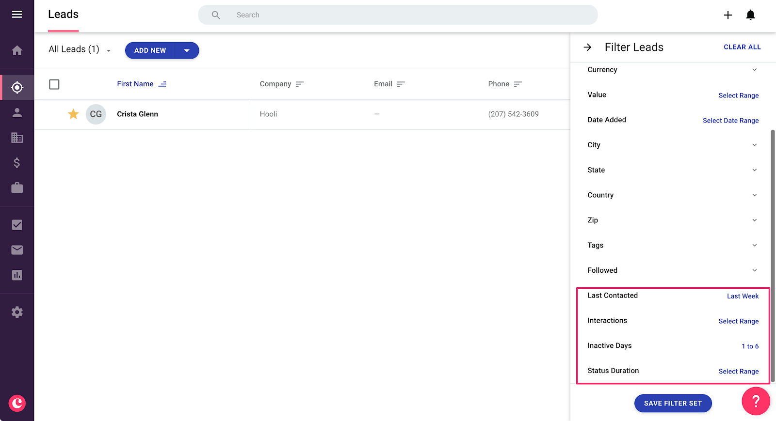 filtering clients by last contact date in copper crm