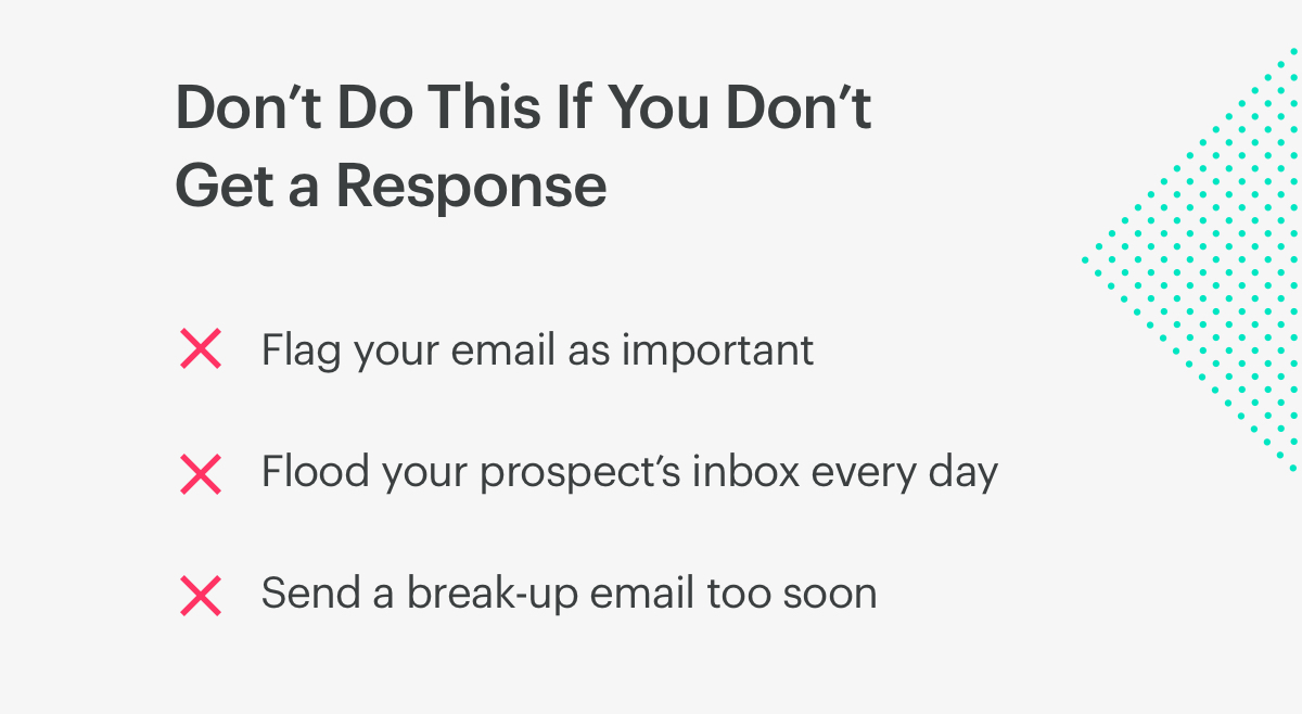 don't do this in a follow-up email if you don't get a response.