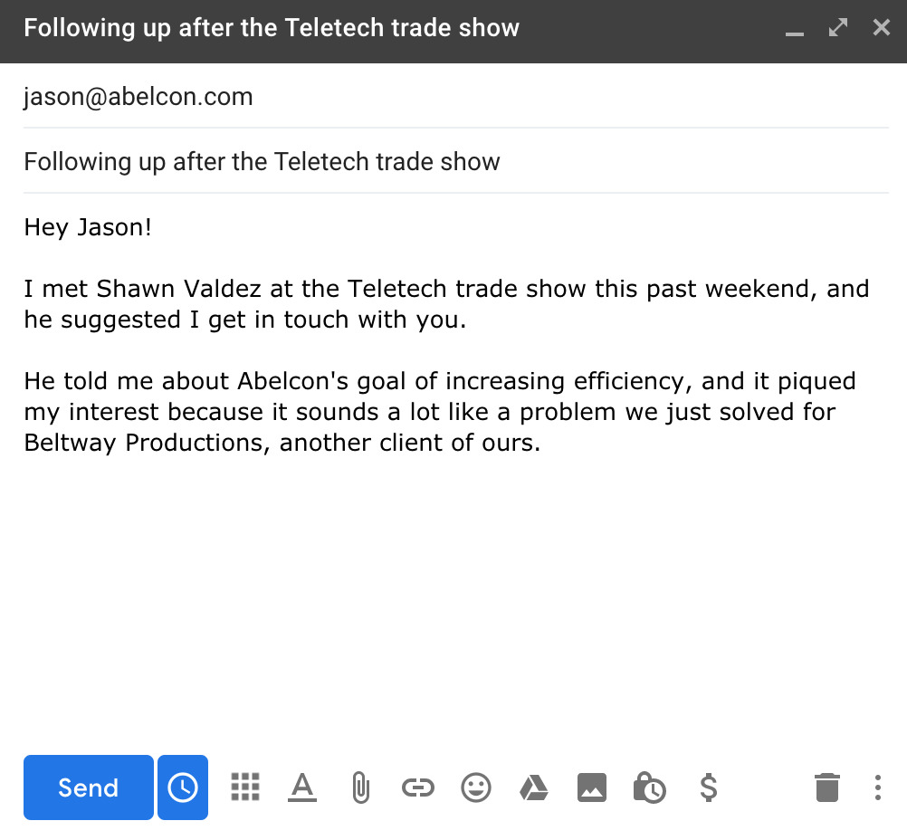 trade show follow-up email sample template for cold leads