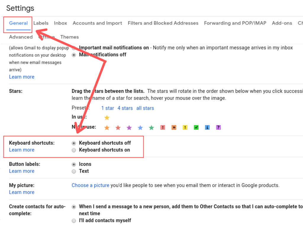 general settings in gmail