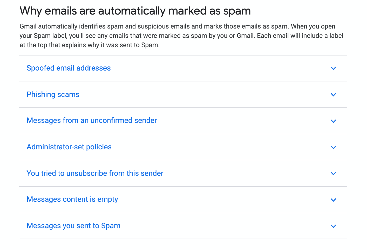 gmail why emails listed as spam