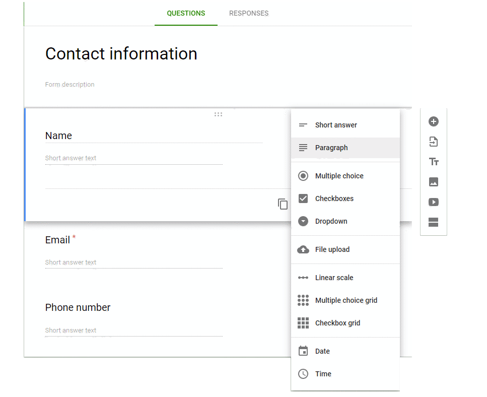 google form contact info