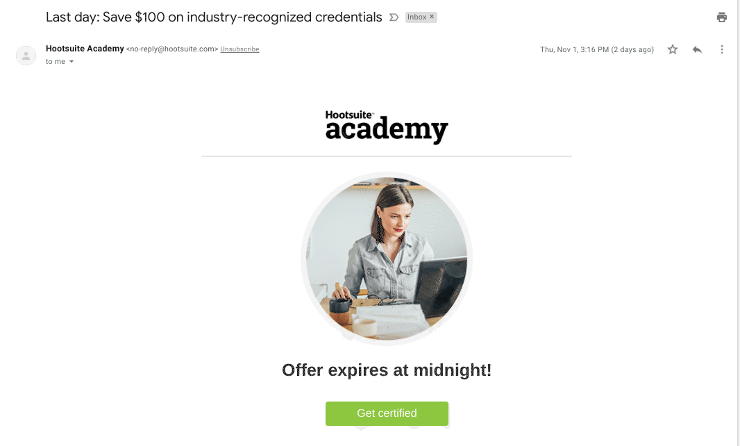 hootsuite academy's upgrade/upsell email drip campaign