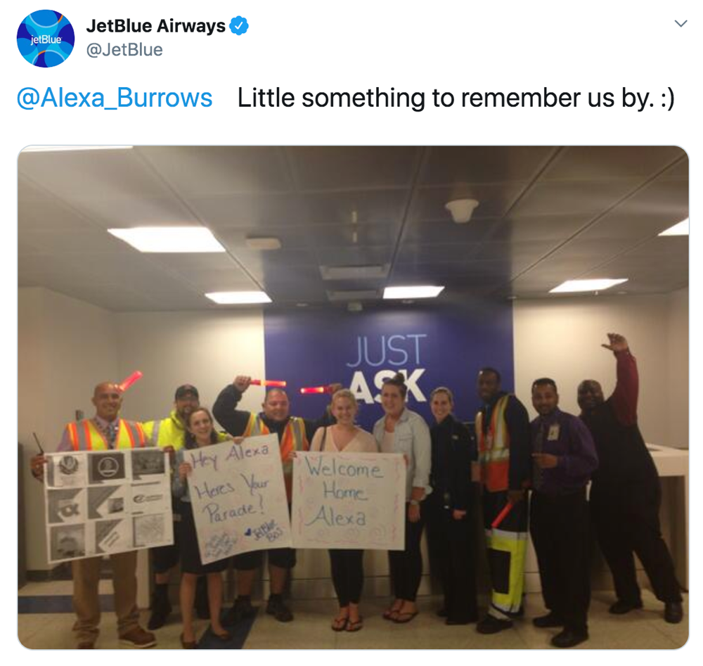 jetblue customer service tweet