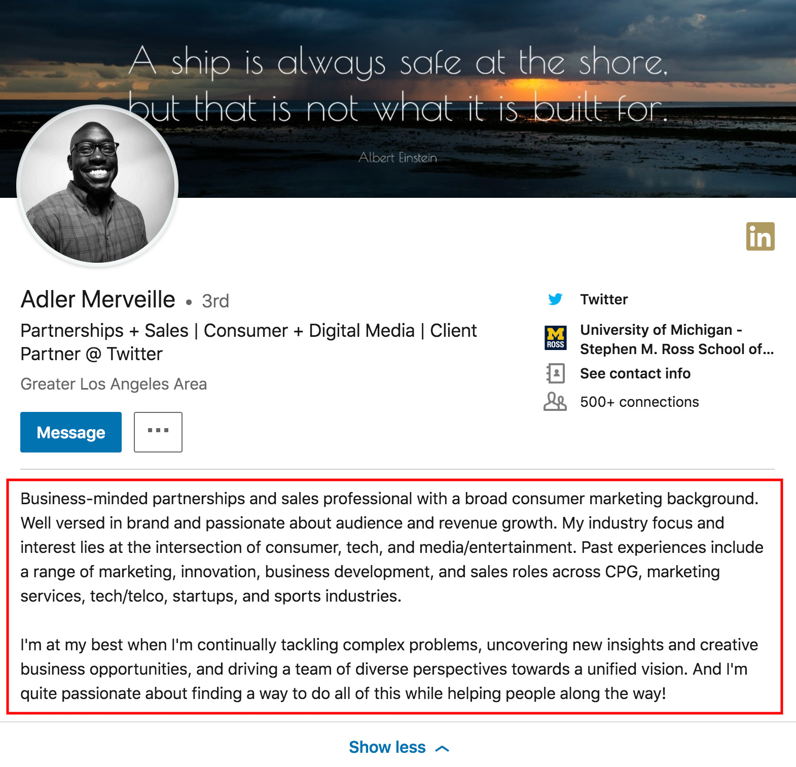 an example of a linkedin summary