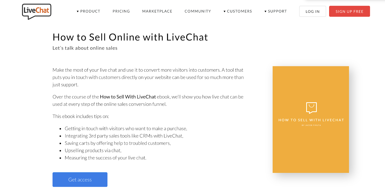livechat sales enablement ebook example