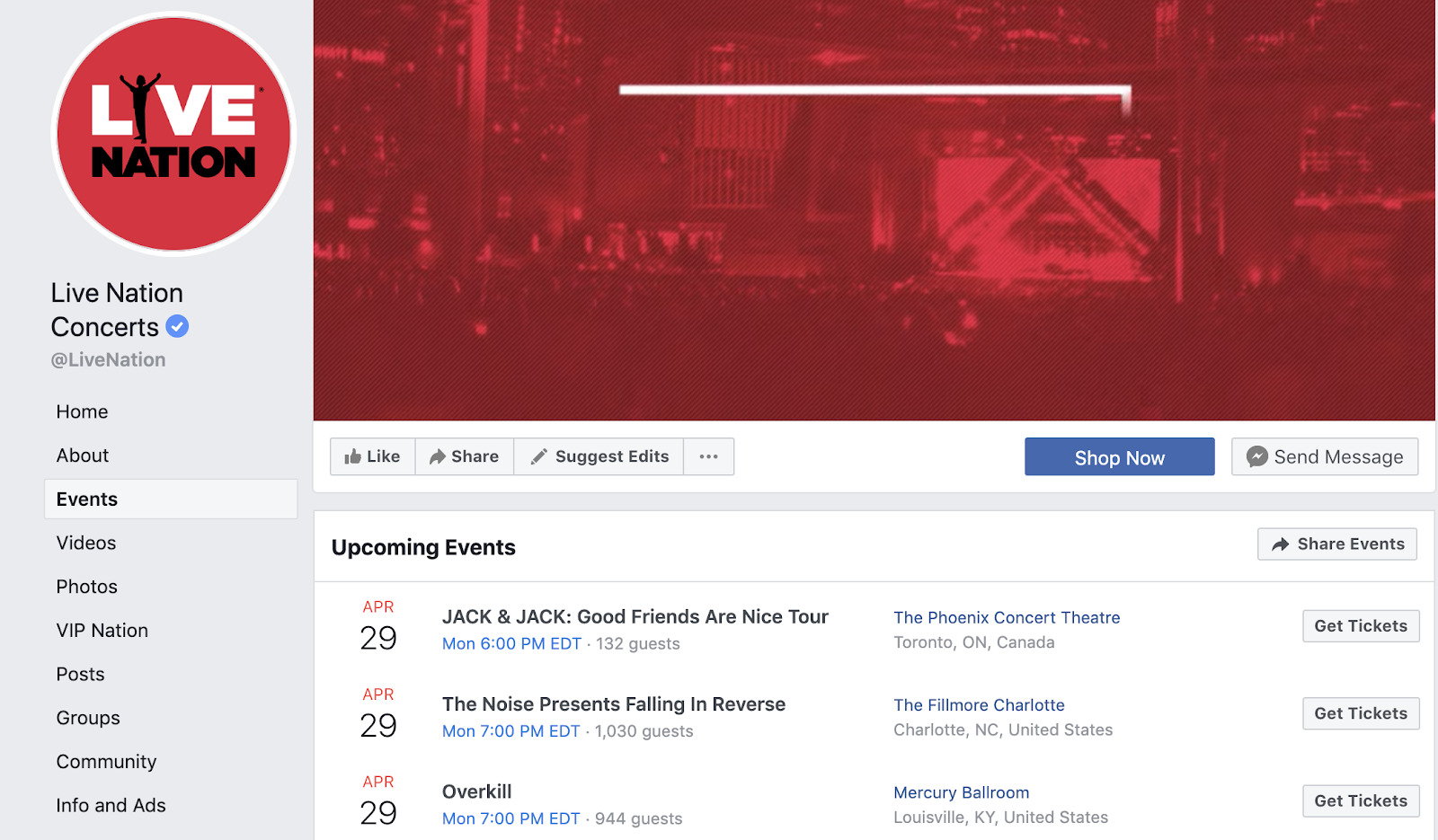 events page on facebook example