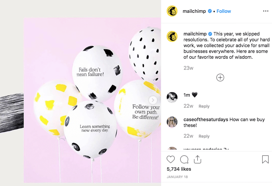 mailchimp inspirational instagram post