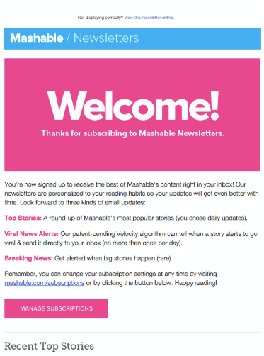 mashable welcome email example