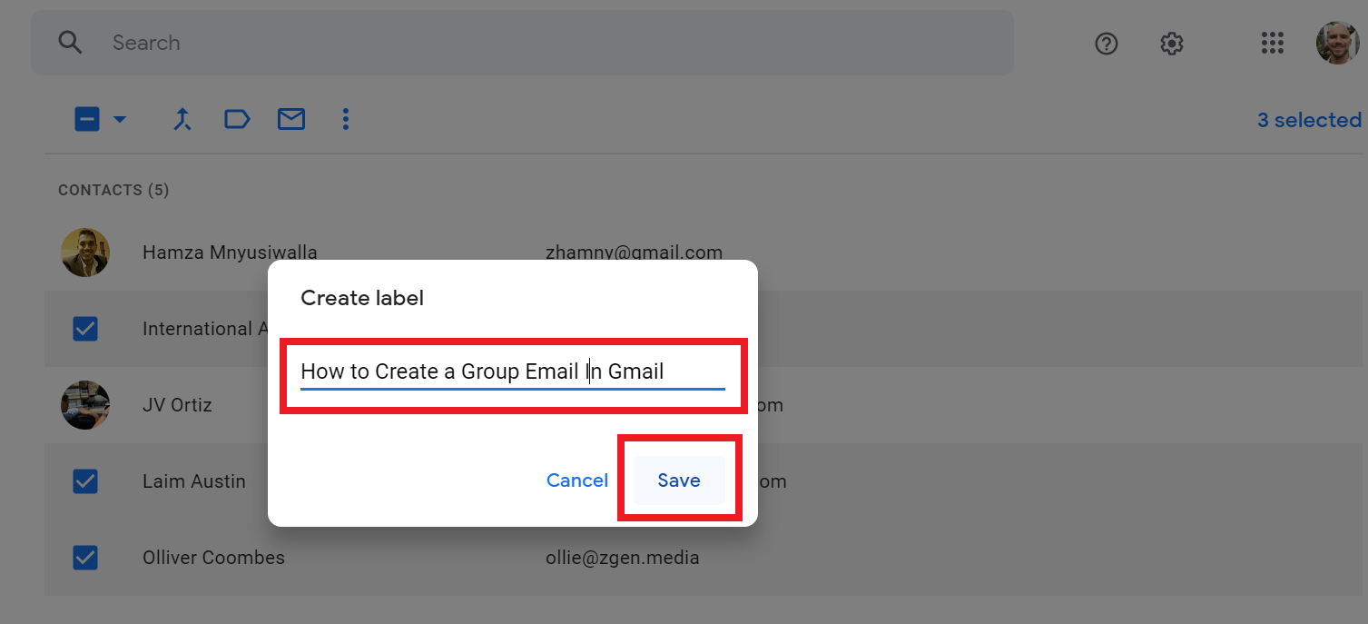 naming group in gmail