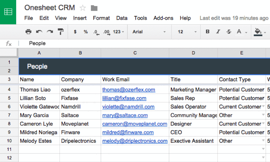 onesheet crm leads