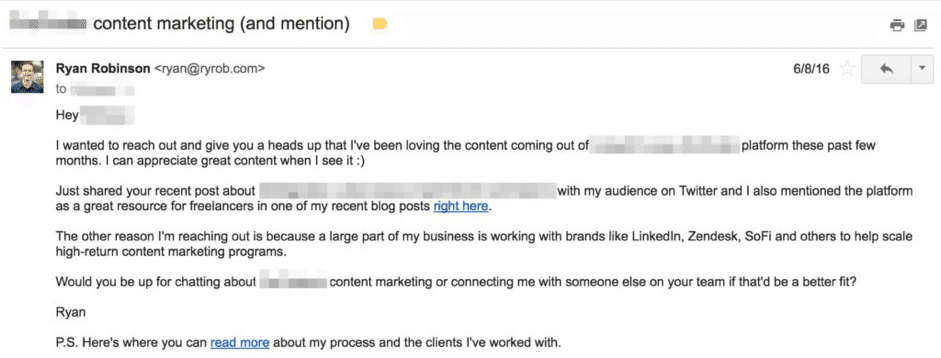 email pitch example