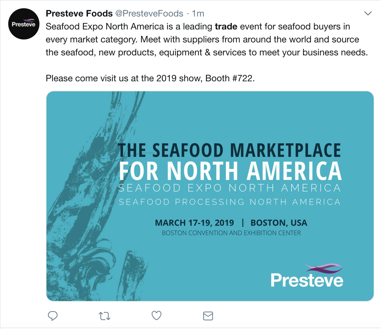 a scheduled trade show tweet example