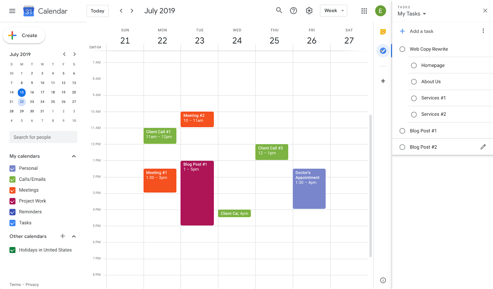 prioritizing events and tasks in google calendar