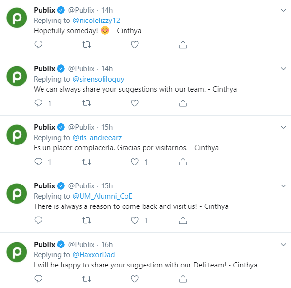 publix twitter example
