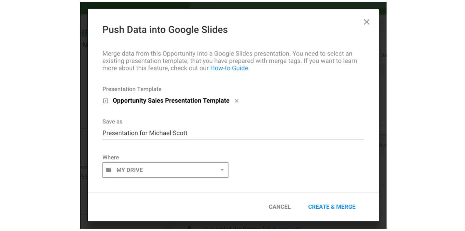 pushing data into google slides