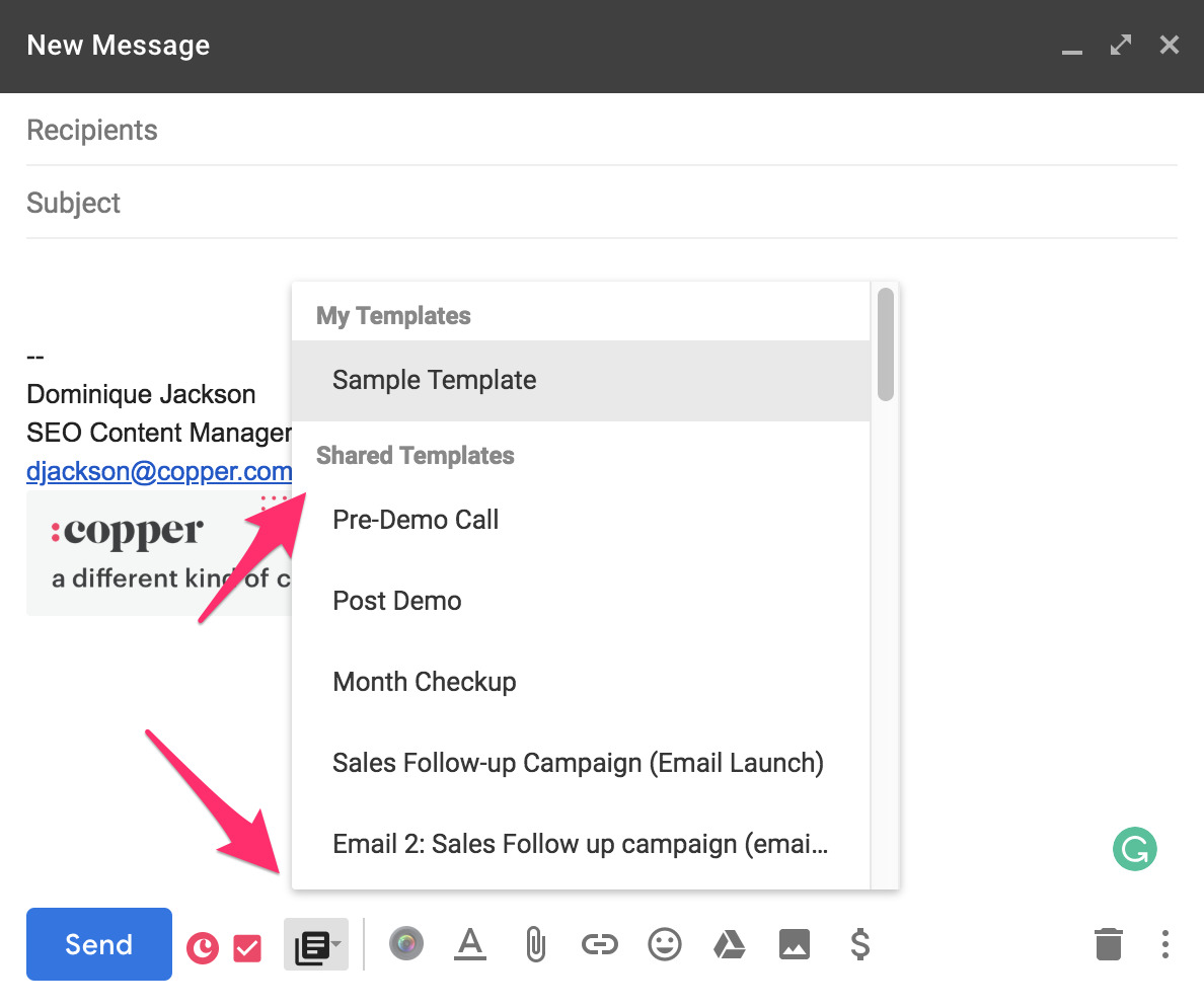 follow-up email template example in Copper and Gmail