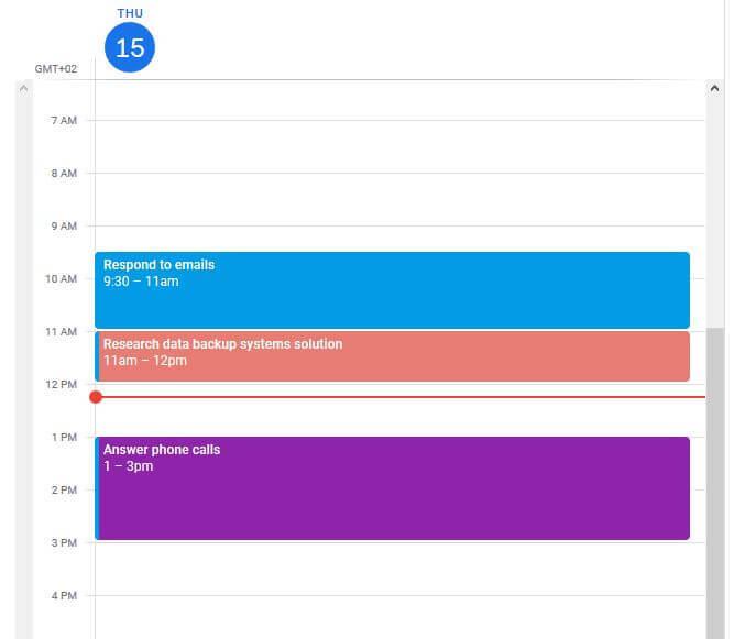 setting daily schedule in google calendar