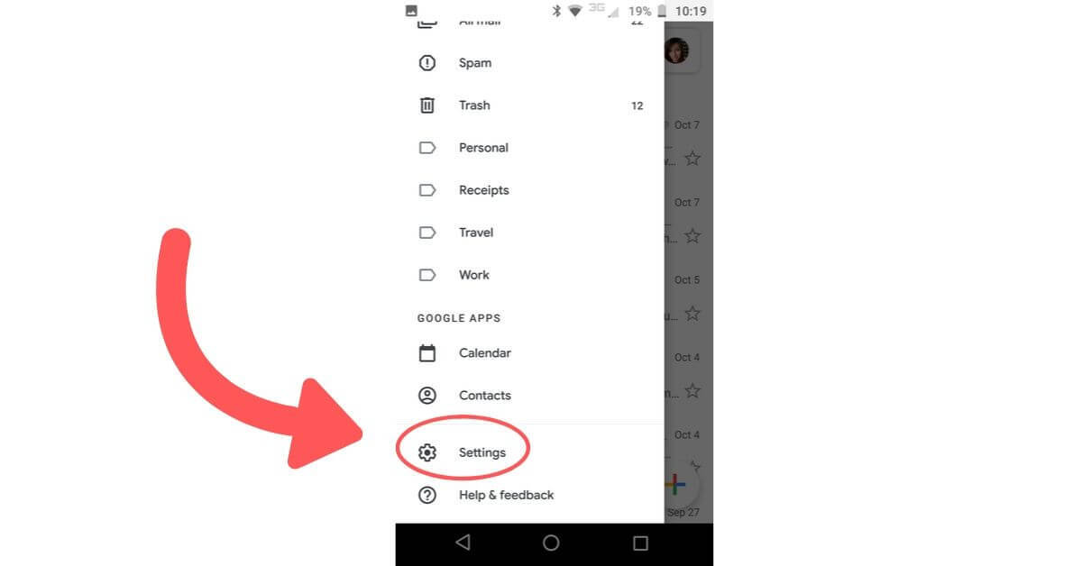 settings in gmail mobile app
