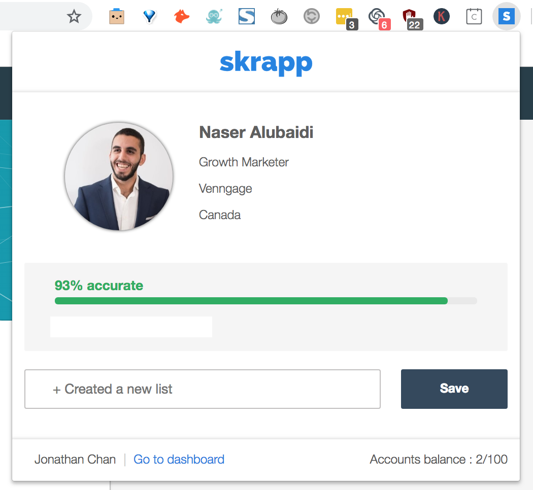 how to use skrapp to find someone's email address.