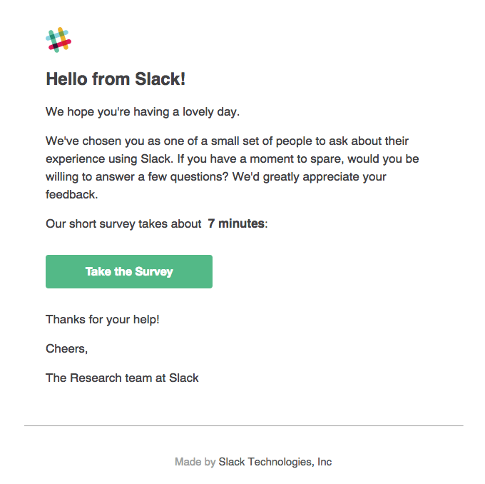 slack customer survey