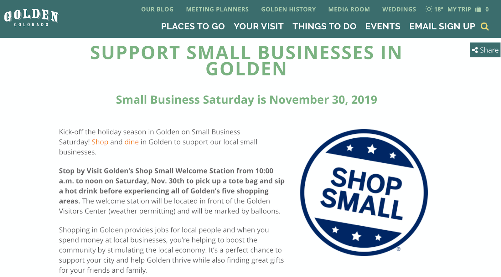 small business saturday webpage
