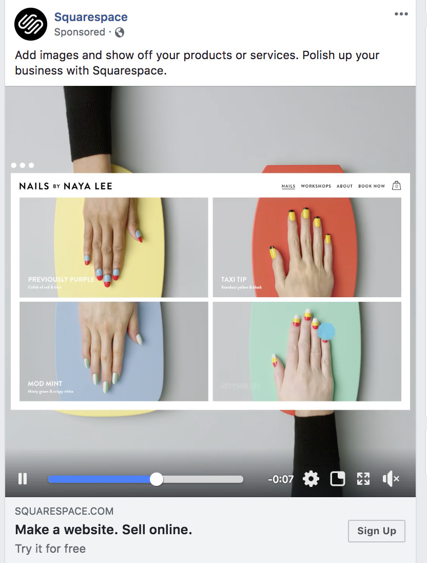 Facebook video Squarespace sales prospecting.