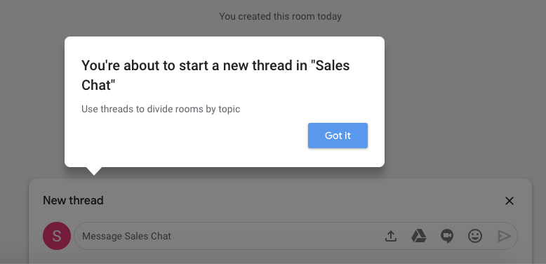 starting a thread in google hangouts