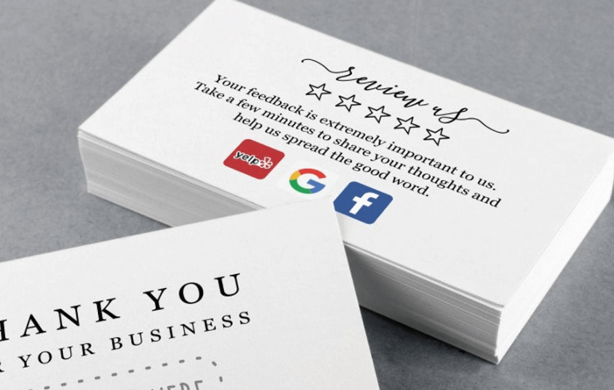 thank you review business card