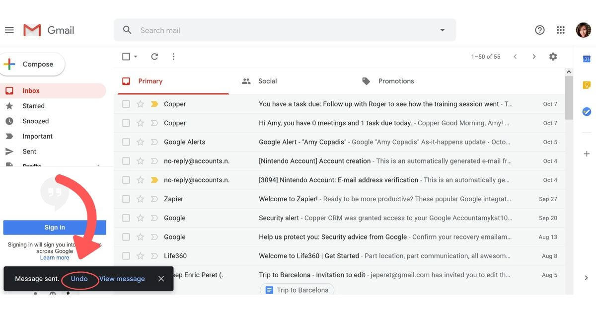 undo send option in gmail
