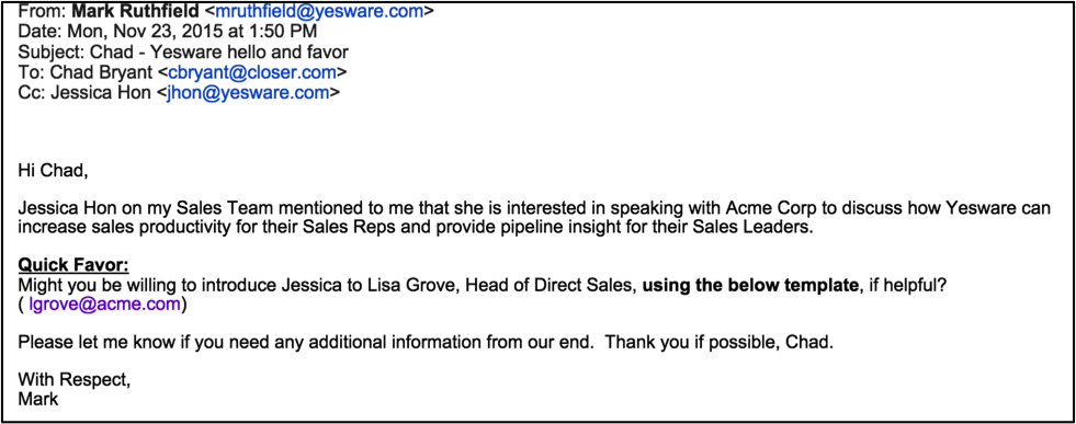 yesware referral marketing email example.