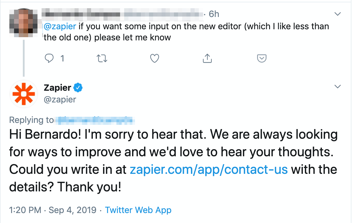 zapier customer feedback example